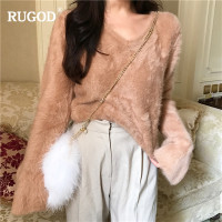 RUGOD New Sexy Lace up Mink Cashmere Sweater Women Fashion V Neck Flare Sleeve Knitted Pullover Pink Sweater Jumpers Befree Pull