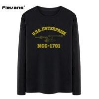 Flevans 2017 New Mens Fashion Spring Long Sleeve O Neck Cotton T Shirt Star Trek Printed