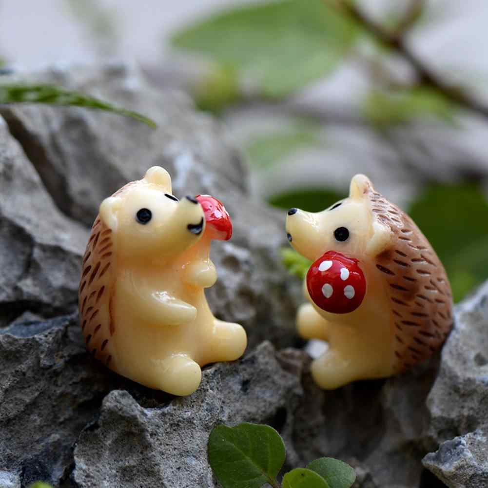 2Pcs/Lot Hedgehog Figurine Mini Resin Decor Succulent Plants Landscape Ornaments