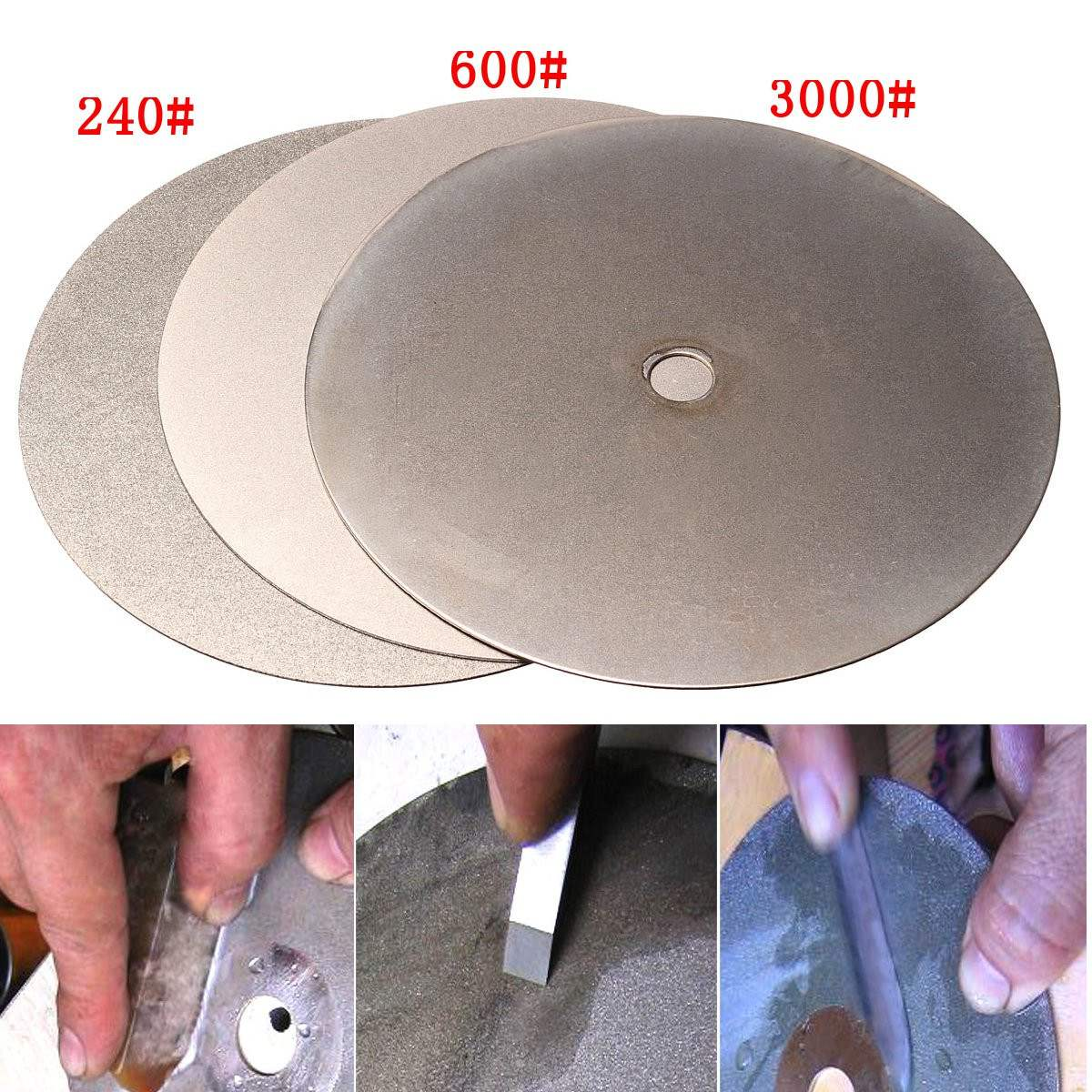 3Pcs 6 Inch 150mm Diamond Grinding Wheel Grit 240# 600# 3000# Flat Lap Disk Wheel Grinding Pad Tool Power Tool Accessories 3pcs 2 6 inch grit 240 600 1000 kit thin flat diamond stone sharpeners knife fine medium coarse