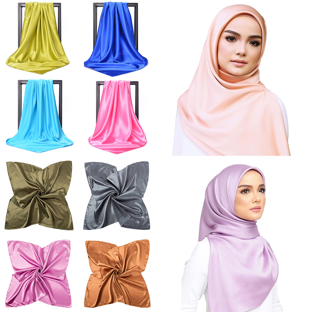 Black Women Square Silk   Scarf     Wraps   Autumn Winter Sjaal Luxury Large Satin   Scarves   Muslim Head   Scarf   90*90cm