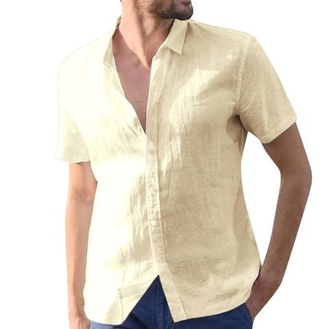 JAYCOSIN shirts summer casual Solid  linen shirts men Baggy fitness Short Sleeve Button Retro modis Shirts Beach Blouse 426 Pakistan