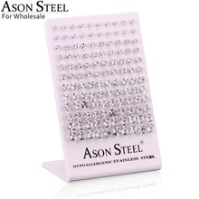 ASONSTEEL 60คู่/ล็อตขายส่ง3 8มม.Cubic ZirconiaสแตนเลสสตีลHypoallergenicต่างหูทอง/Rose Gold/เงินสี