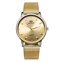 2016 Style Gold Watch Ladies Elegant Crystal Informal Metal Mesh Quartz Watch Girls Watches Boutique Present SOXY Wristwatch Hour