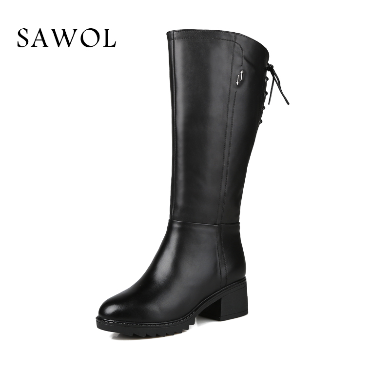купить Genuine Leather Women's Winter Shoes Natural Wool Women Winter Boots Knee High Boots High Quality Brand Women Winter Shoes Sawol по цене 5711.79 рублей