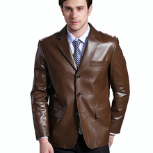 2017 Autumn Male Handsome 100% Guaranteed Sheepskin Real Natural Genuine Leather Suit Collar Black Brown Slim Jacket Clothing