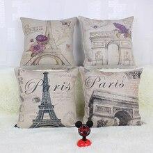 45 *45cm Vintage Eiffel Tower in Paris Arc de Triomphe orative Throw Pillow Covers Sofa Seat Cushion Cover