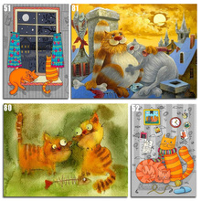 Peter ren DIY Diamond Painting Cross stitch kit Anime Cat 5d Round mosaic full icon Embroidery Cats family life