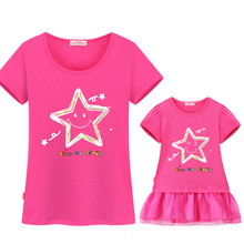 Family Matching Clothes 2018 Christmas Clothes Cotton Short-sleeved T-shirt Mother And Daughter Dress outfits Mommy And Me