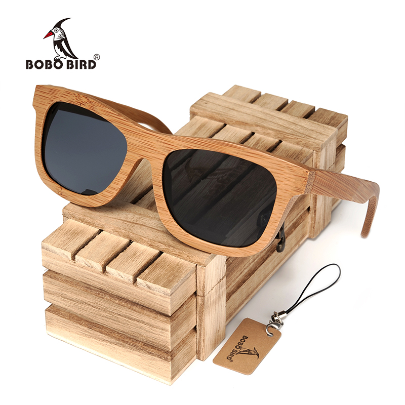 BOBO BIRD Syze dielli prej druri bambuje prej xhami të punuar me dorë, të pasqyruara, të pasura me polarizim, Syzet e syzeve sportive në kutinë e drurit
