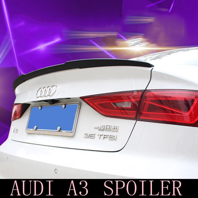 MONTFORD Fit For Audi A3 S3 Sedan 4 Doors 2014 2015 2016 Carbon Fiber Rear Roof Spoiler Tail Trunk Boot Lip Wing Decoration 1Pcs