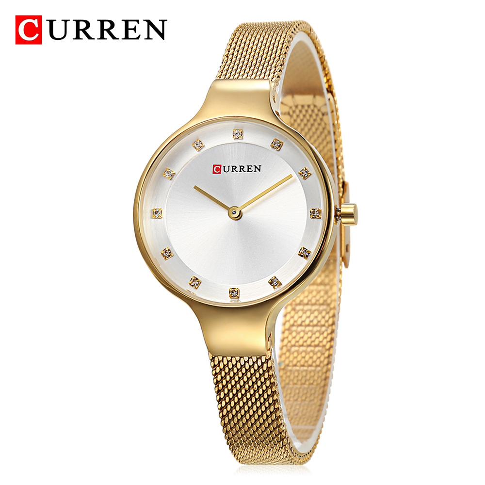 <font><b>CURREN</b></font> Quartz Women Watch Stainless Steel Mesh Gold Dial Casual Fashion Woman Watches Ladies Dress Waterproof Clock Montre Femme image