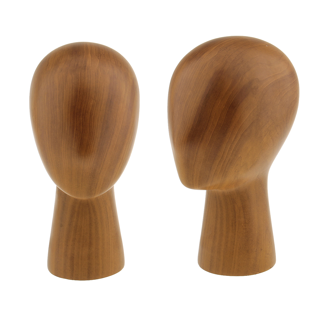 2PCS Retail Store Salon Home Wood Mannequin Manikin Head for Hair Wigs Caps Hat Display Storage