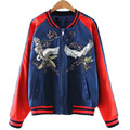2016 Girl Women Apparel Animal Streetwear OL Girl Outwear Loose Fashion Coat Vintage Silk Embroidery Red Crowned Crane Baseball