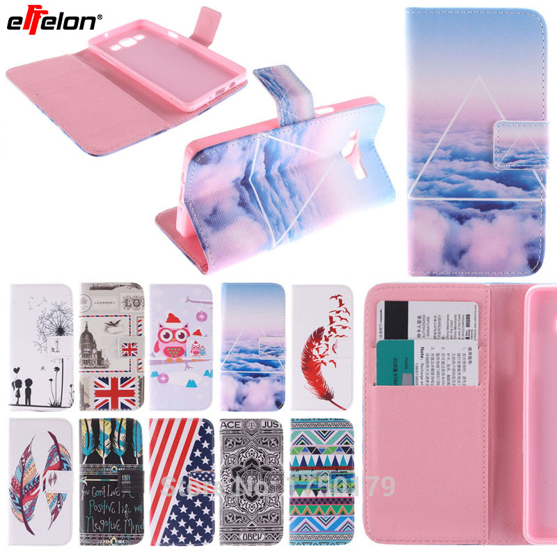 SEASHORE Colorful Painting Stand Flip Leather Cover Case for Samsung Galaxy A5 A3 2016 cell Phone Cases for Samsung J1 J5 2016
