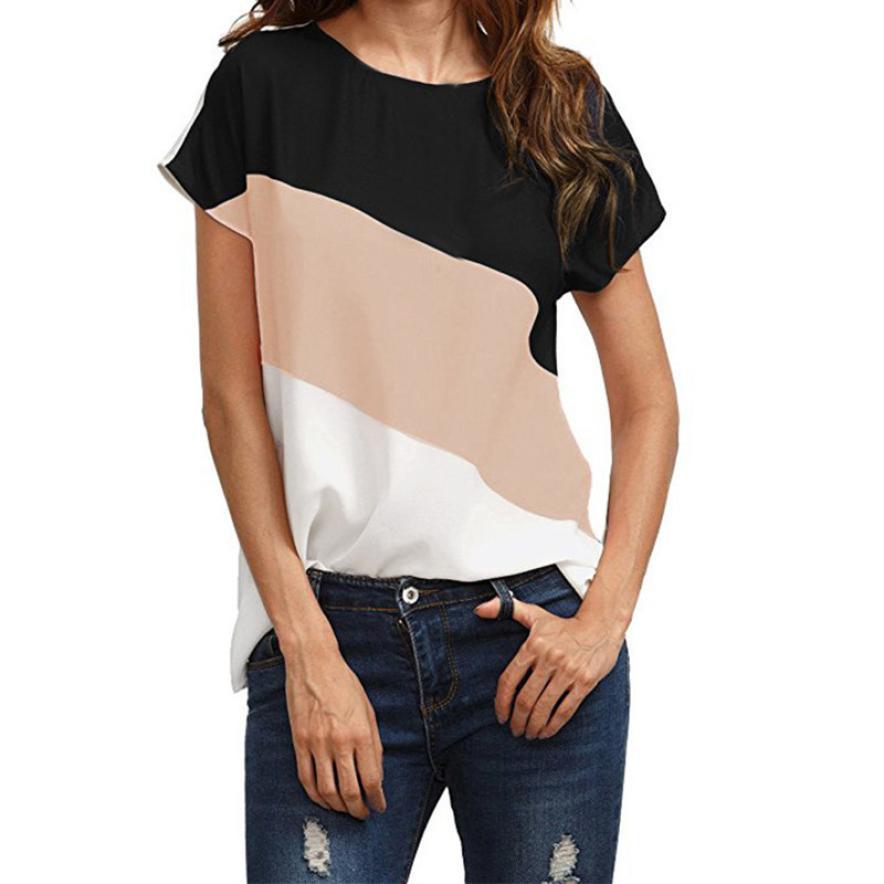 snowshine YLWX Women's Color Block Chiffon Short Sleeve Casual   Blouse     Shirts   Tunic Tops free shipping