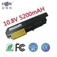HSW 5200mAh 6cells new replacement laptop Battery For IBM Lenovo ThinkPad T61 T61p R61 R61i T61u R400 t400 6 cells bateria akku