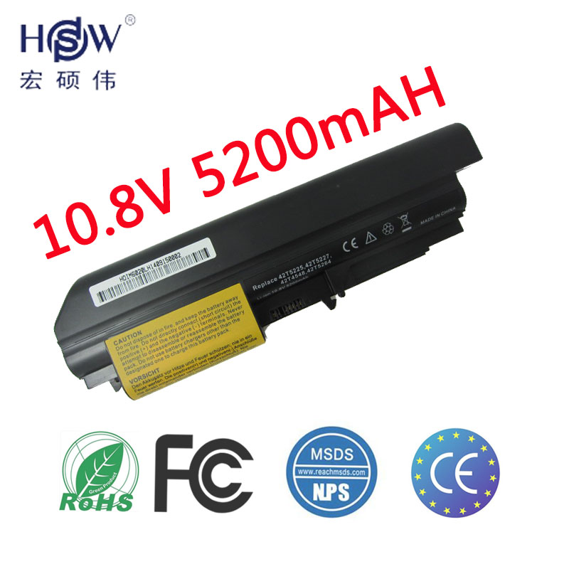 HSW 5200mAh 6cells new replacement laptop Battery For IBM Lenovo ThinkPad T61 T61p R61 R61i T61u R400 t400 6 cells bateria akku new original for lenovo thinkpad t400 r400 r61 r61i t61 14 1 lcd panel screen 141 wxga 1280 800 lp141wx3 tl r1 42t0496 27r2459