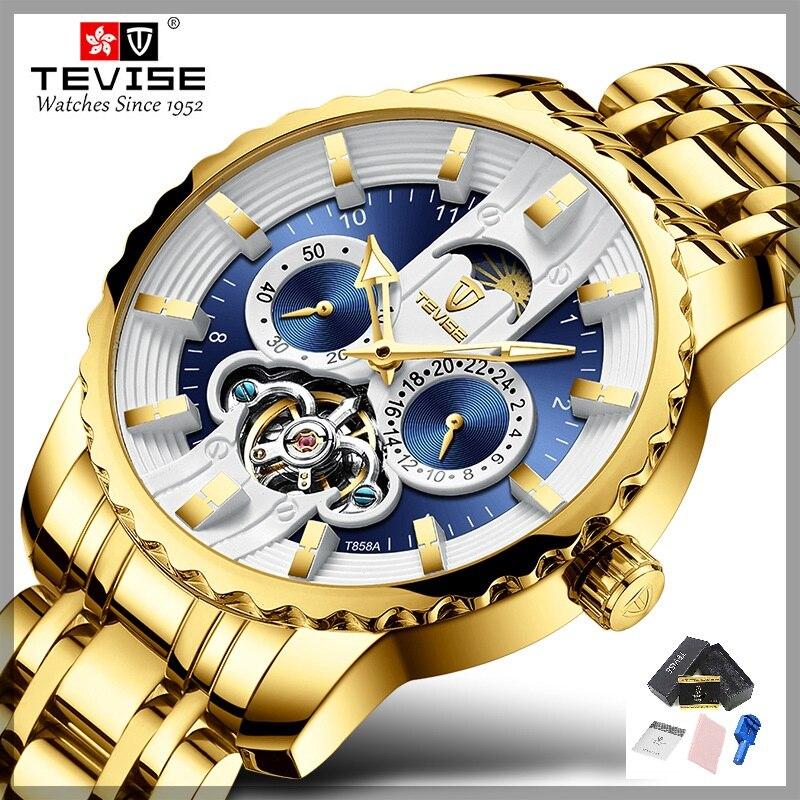 TEVISE Uhr Automatische Tourbillon Männer Uhr Mond Phase Luminous Water Mechanische Armbanduhren Uhr Werkzeug T856A Drop Schiff-in Mechanische Uhren aus Uhren bei