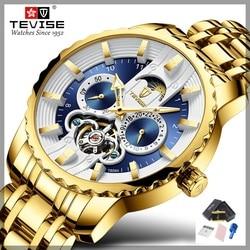 TEVISE zegarek automatyczny Tourbillon mężczyźni zegarek faza księżyca Luminous Waterprof mechaniczne zegarki na rękę zegarek narzędzie T856A Drop Ship w Zegarki mechaniczne od Zegarki na
