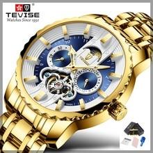 Часы TEVISE Мужские автоматические с турбийоном, светящиеся механические наручные часы с Лунной фазой, водонепроницаемые, T856A, Прямая поставка