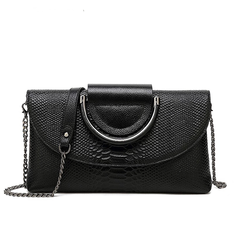 Womens Genuine Leather Handbags 2019 New Style Chains Clutches Ladies CrossBody Shoulder Messenger Bags Purses And
