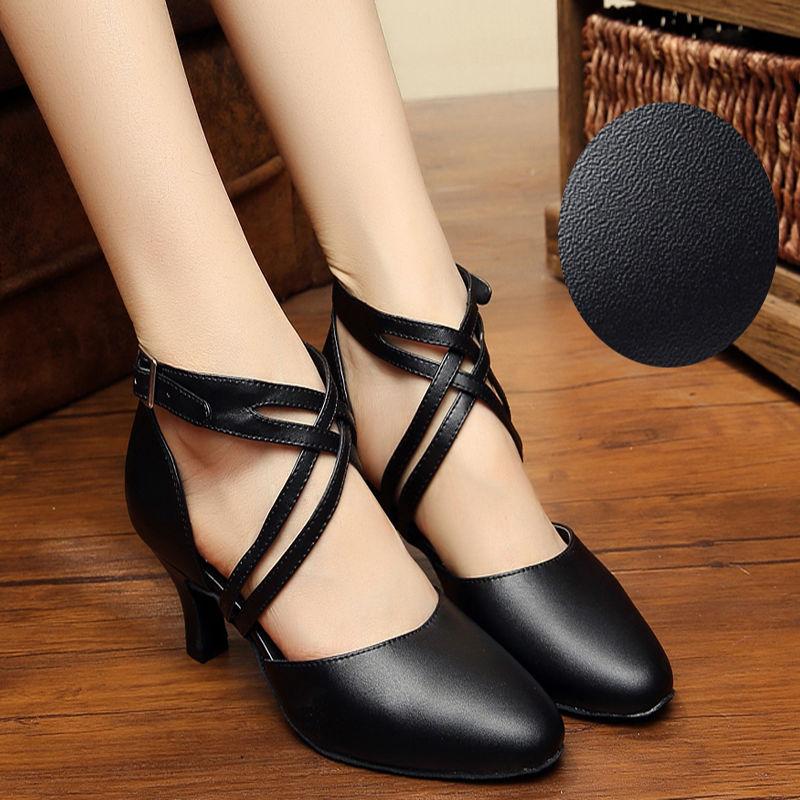 Këpucë Vallëzimi Ballroom Gratë Upscale Lëkurë origjinale lëkure Latine Atlete Vallëzimi të Mbyllura Gishtin e këmbës të Rritur Aerobics Sport Jazz Shoes 7005