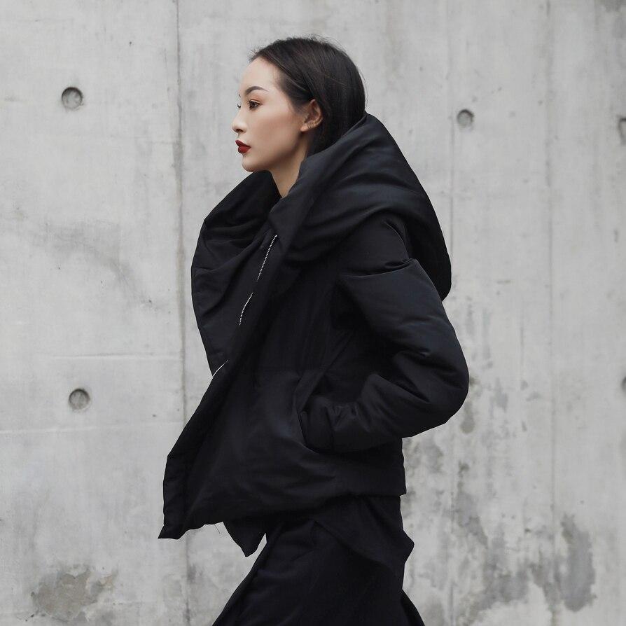 Cakucool New Dark Black Women Big Hat Regular Short Parka Loose Winter Overcoat Warm Kimono Design Parka Outerwear Coats Women