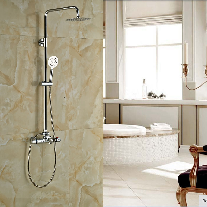 Wall Mounted Brass Chrome Polish Shower Set Bath 8 in Rainfall ...