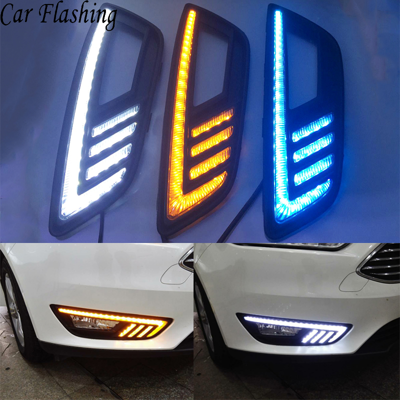 Car Flashing 2Pcs DRL for Ford focus 4 2015 2016 2017 2018 LED DRL daytime running