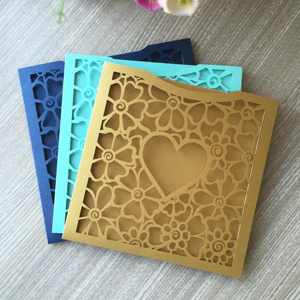 Brides Wedding Invitation Kit: 30pcs Pocket Laser Cut Heart Wedding Invitations Cards