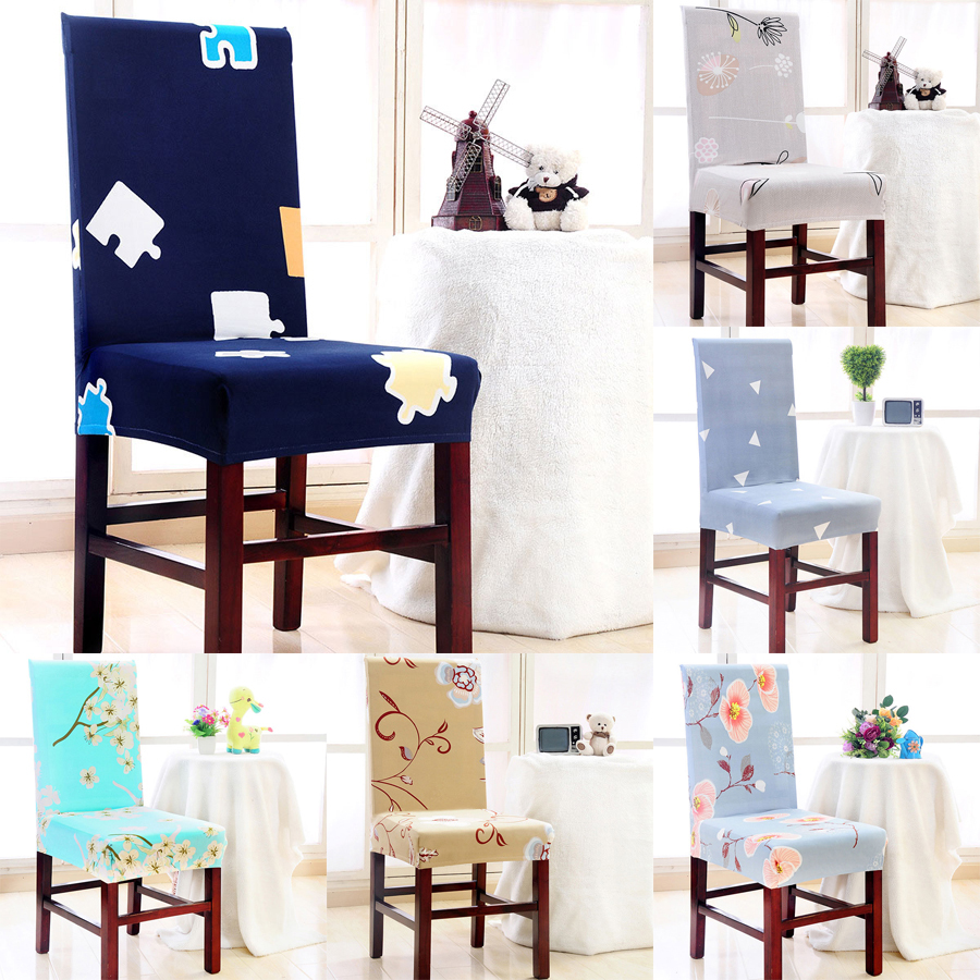 1 Pc Spandex Elastic Simple Style Plant Flower Geometry Pattern Chair Covers Dustproof Stretch Modern Dining