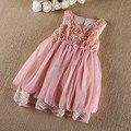 Alta qualidade Vestidos de festa de Meninas de alta qualidade vestido de renda chiffon crianças vestido de colete 18M-5 anos da criança roupas das meninas rosa/cáqui