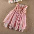 high quality Girls party Dresses high quality lace chiffon dress kids vest dress 18M-5 years toddler girls clothes pink/khaki