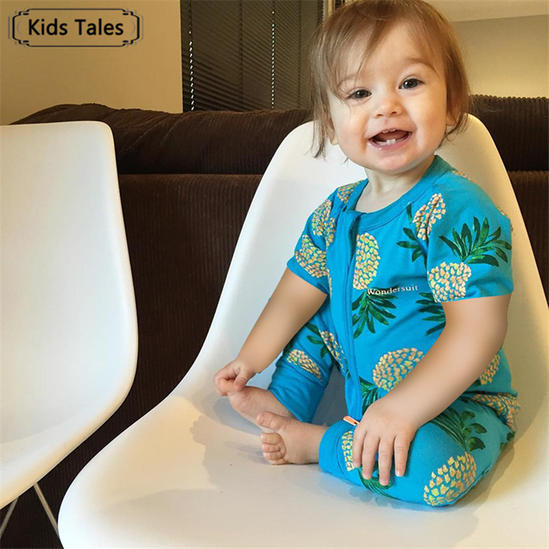 SR321 Childrens Overalls with Short Sleeve Cotton Jumpsuit for Newborns Roupas de Bebe for Little Boys Girls Summer Clothes