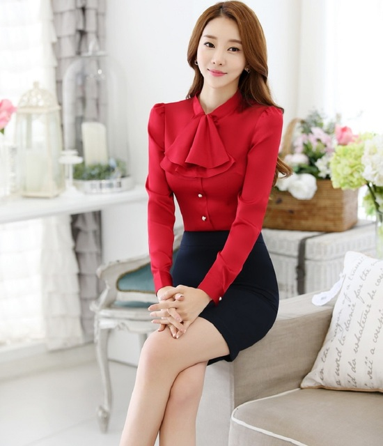 Novelty Red Slim Fashion Professional Business Women Work Suits With 2 Piece Tops And Skirt Ladies Office Skirt Suits Outfits