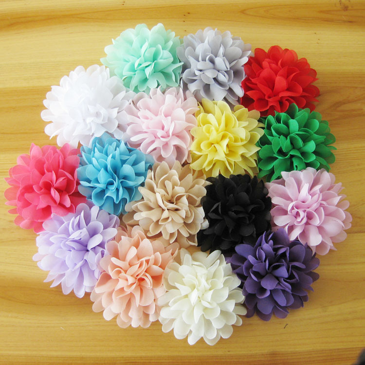 "120pcs/lot 4.1"" 16colors Soft Chiffon Flowers Flatback Flet Flower For Kids Hair Accessories Fluffy Fabric Flowers For Headbands"