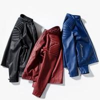 Collar del Mandarín de Moda Slim Fit Chaqueta de Los Hombres Del Motorista de Cuero Vino Tinto Masculina Chaqueta Negro Burdeos Azul Marino