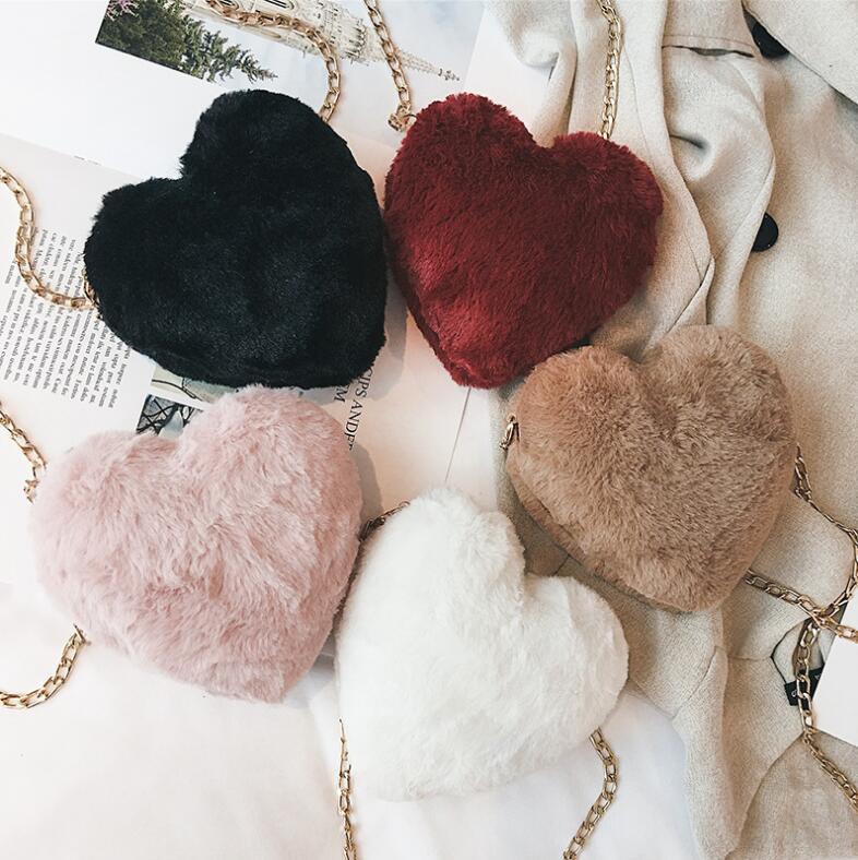 2018 autumn new fashion trend female bag peach heart plush chain small fairy shoulder diagonal package heart-shaped wild 1