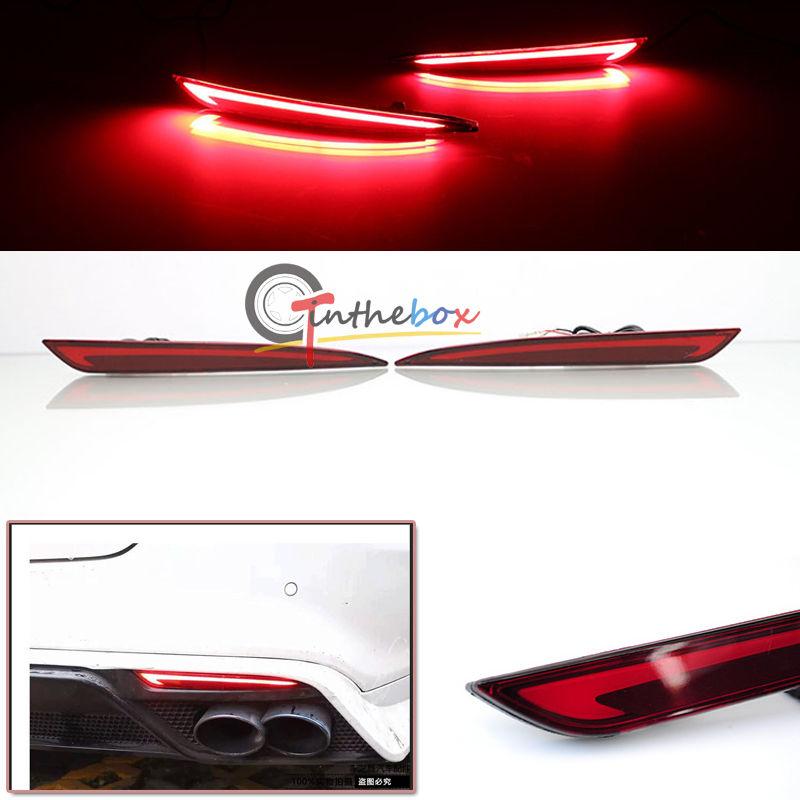 цены на 3D Optic LED Rear Bumper Reflector Brake Tail Light For 14~16 Ford Fusion Mondeo в интернет-магазинах