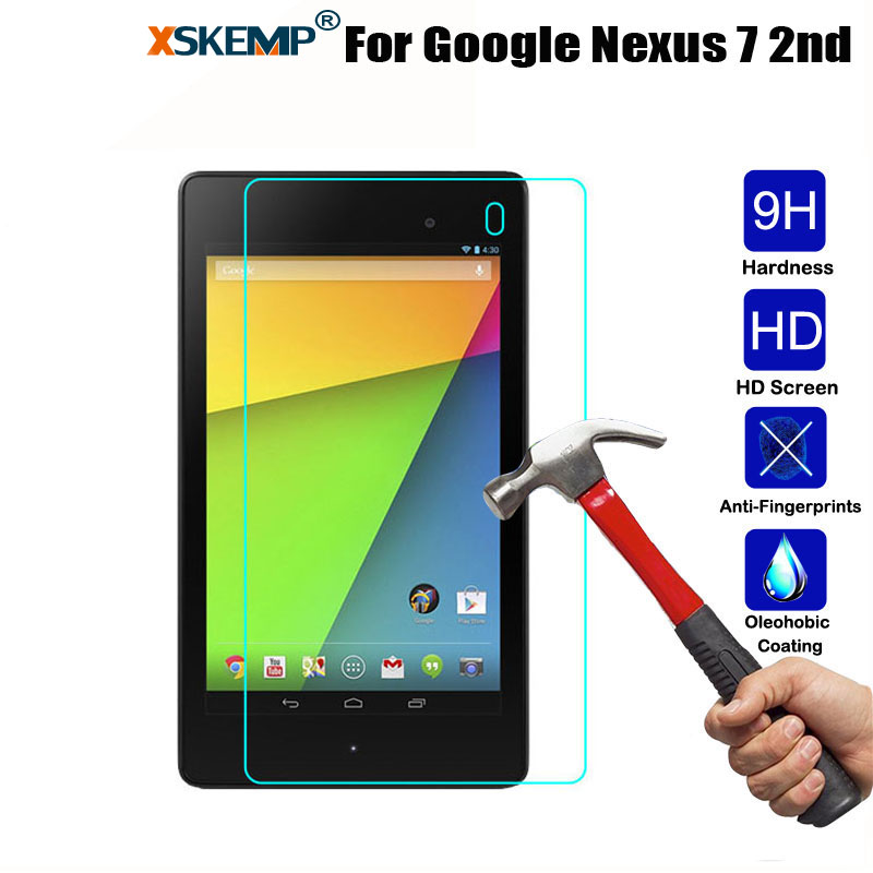 XSKEMP 9H Hardness 0.3mm Tempered Glass Film For Google Nexus 7 2nd Ultra Clear Anti-Shatter Shockproof Tablet Screen Protector
