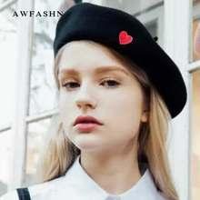 Corazón rojo moda boina señora sombrero bordado Otoño Invierno mujer  artista lindo gorro de lana Vintage c34c94e3451