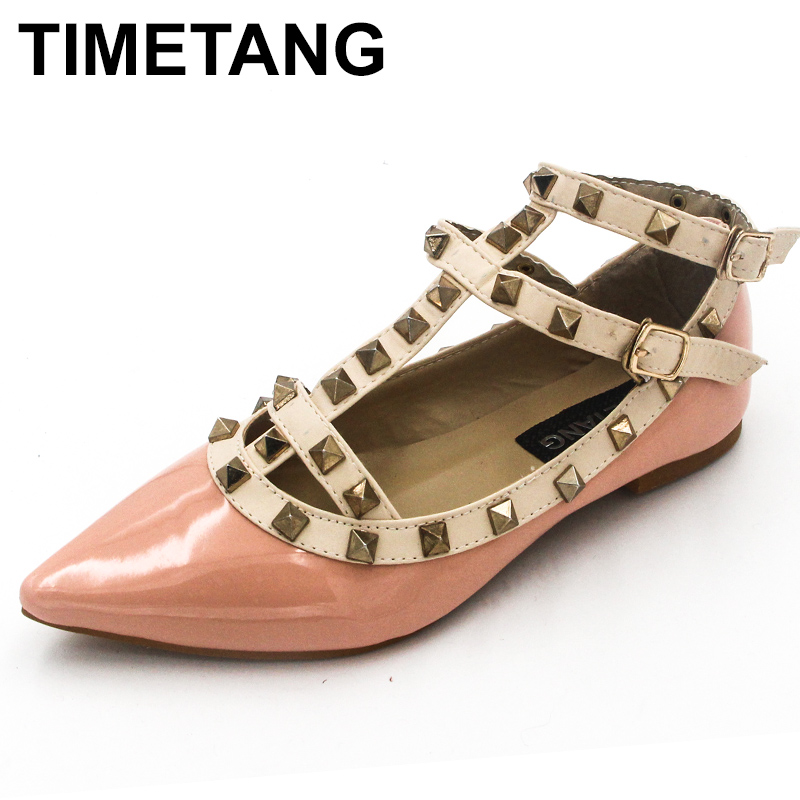 TIMETANG Women Rivet Flats Shoes Metal Ankle Strap Women Point Toe Rivets Studded Ballerinas Size T Straps Rivets Sandals Shoes pu pointed toe flats with eyelet strap