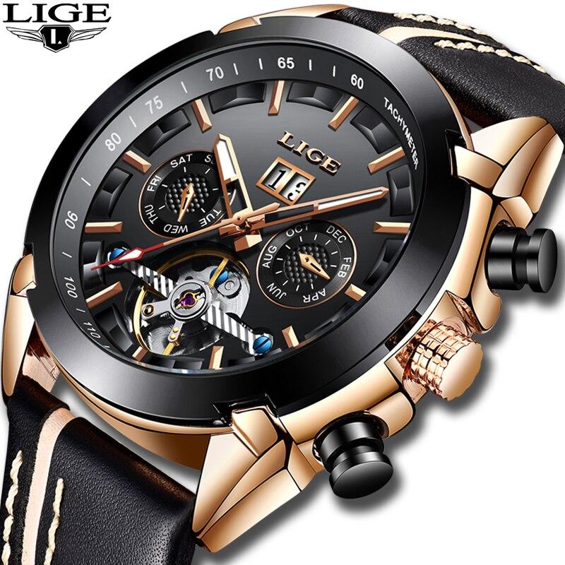 Japanese Movement Men Watches LIGE Luxury Automatic Mechanical Watch Male Leather Waterproof Sport Watch Men Business
