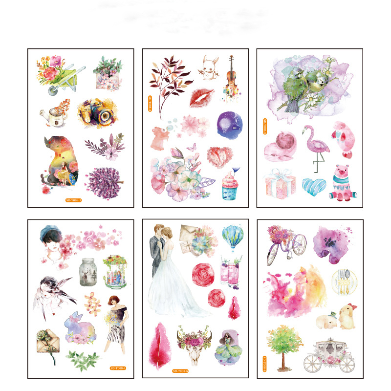 6 Pcs/pack Men Girl Rabbit Bullet Journal Decorative Stationery Stickers Scrapbooking DIY Diary Album Stick