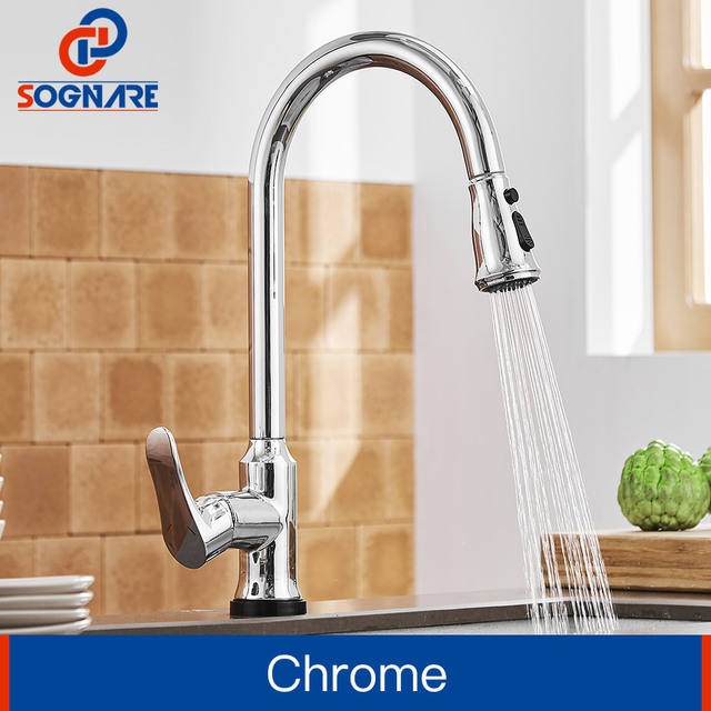 Sognare Touch Kitchen Faucet Lead Free Br Pull Out Sensor Tap Control Sensitive
