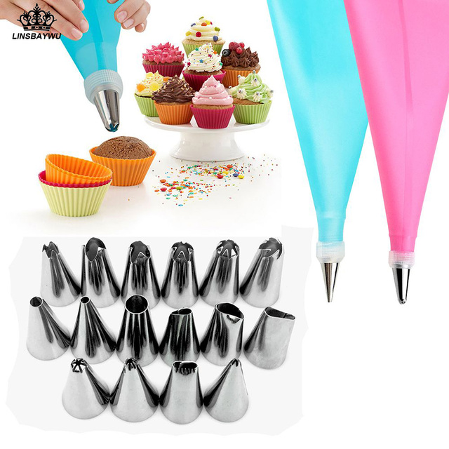 18 PCS/Set Silicone Pastry Bag Nozzles Tips DIY Icing Piping Cream Reusable Pastry Bags +16 Nozzle Set Cake Decorating Tools
