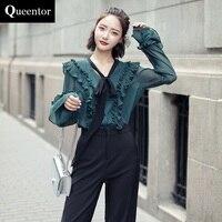 QUEENTOR 2017 Brand Blouse Autumn Casual Long Sleeve Fashion Vintage Bow Chiffon Shirt Women Wholesale