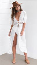 Bohemian solid white hollow out chiffon woman dresses fashion summer lace-up v-neck beach split female