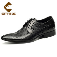 SIPRIKS Pointed Toe Dress Shoes Mens Black Derby Fashion Crocodile Skin Formal Tuxedo Shoes Rubber Sole